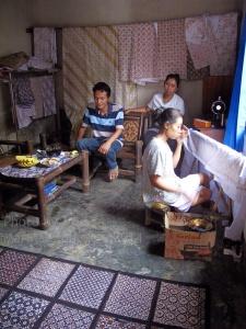 Tatang, Mrs Aminah and Mrs Yati in The work room, Kembang Songo