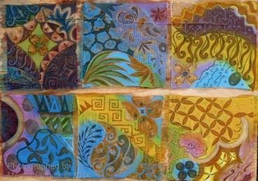 Design samples inspired by traditional batik motifs including Nikit ,Ceplok, Kuwang and Parang. These will be sketches for new batiks I am planning. Batik artist Marina Elphick creates contemporary batik art,