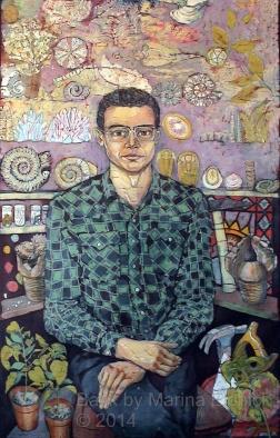 Portrait of Richard , batik on cotton by Marina Elphick