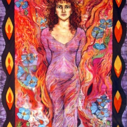 Portrait of Sasha as Fire Child , batik and stitch on cotton by Marina Elphick , Book jacket design for Firechild