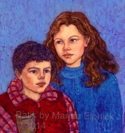 Portrait of Edmund and Amy , batik on cotton by Marina Elphick
