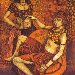 The Belly Dancers , batik on cotton by Marina Elphick