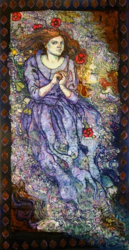 Ophelia , life size self portrait , batik on cotton with embroidery by Marina Elphick