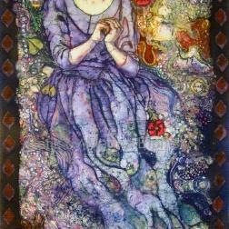 Ophelia , life size self portrait , batik on cotton with embroidery by Marina Elphick