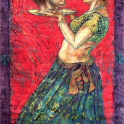 Salome , batik on cotton by Marina Elphick