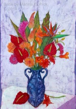 Exotics , floral batik on cotton by Marina Elphick, painter and batik artist.