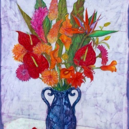 Exotics , floral batik on cotton by Marina Elphick, painter and batik artist.