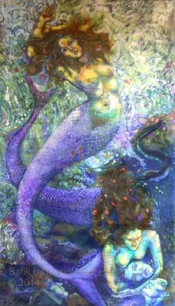 Sirens , life size batik on cotton by Marina Elphick