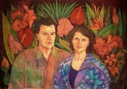 Portrait of Mum and Dad , batik on cotton by Marina Elphick
