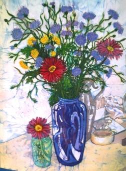 Cornflowers in blue vase , batik on cotton by Marina Elphick