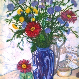 Cornflowers in blue vase , batik on cotton by Marina Elphick