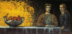 Justin and Rachel , batik on cotton by Marina Elphick