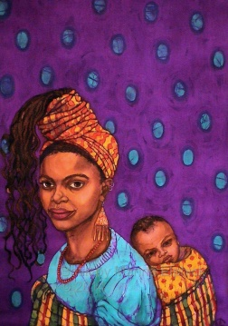 Joys of Motherhood, book cover artwork in batik, on cotton by Marina Elphick Book by Buchi Emecheta.