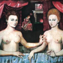 Batik version of Gabrielle d' Estrees et une des soeurs , batik on cotton by Marina Elphick