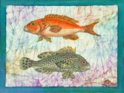 Sea bass , batik on cotton by Marina Elphick