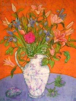 Iris, lilies and teasels , batik on cotton by Marina Elphick