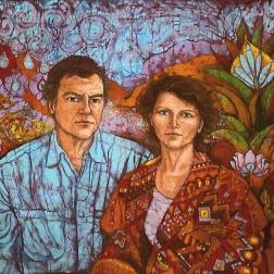 Indian Travels , batik on cotton by Marina Elphick