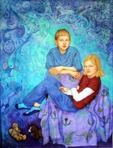 James and Olivia , life size batik portrait , batik on cotton by British artist, Marina Elphick. Batik painter takes commissions.