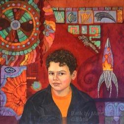 Edmund , batik on cotton by Marina Elphick