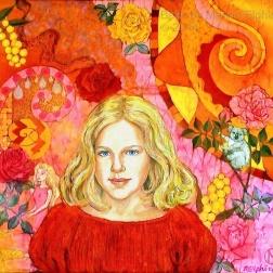 Nicola , batik on cotton by Marina Elphick