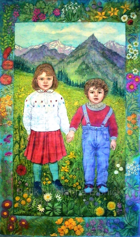 Batik portrait of Amy and Edmund, by artist Marina Elphick. British batik artist known for her exquisite portraits in this classic Indonesian art medium