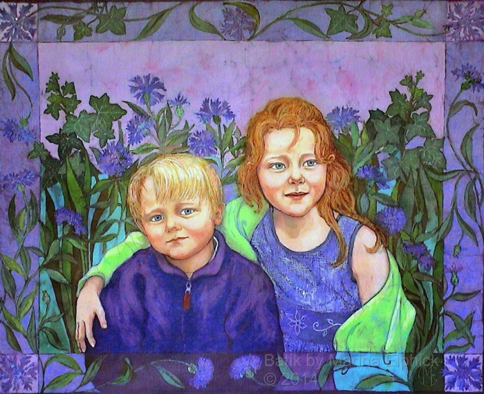 Batik art by UK batik artist Marina Elphick. Contemporary batik artist well known for her highly life like portraits. portraits of children in batik. British batik artist known for her exquisite portraits in this classic Indonesian art medium.