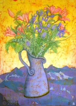 Lilies and Iris , batik on cotton by Marina Elphick