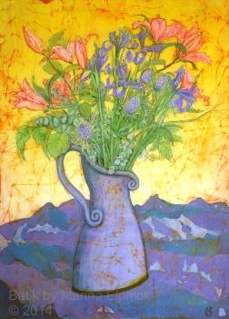 Lilies and Iris , batik on cotton by Marina Elphick