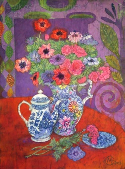 Anemones and Willow coffee pot , batik on cotton by Marina Elphick