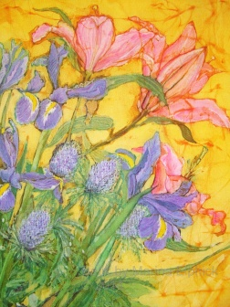 Detail of Lilies and Iris , batik on cotton by Marina Elphick
