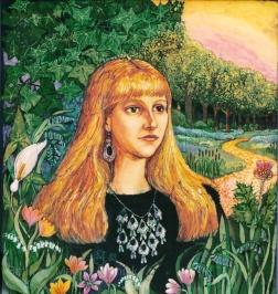 Portrait of Becky , batik on cotton by Marina Elphick