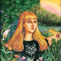 Portrait of Becky , batik on cotton by Marina Elphick