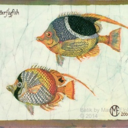 Butterfly fish , batik on cotton by Marina Elphick