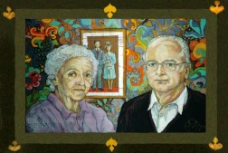 Mr and Mrs Morton , batik on cotton by Marina Elphick