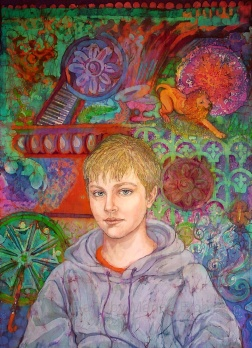 Oscar, portrait in batik on cotton by Marina Elphick