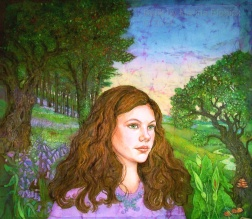 Amy, woodland portrait , batik on cotton by Marina Elphick
