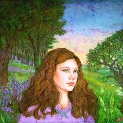 Amy, woodland portrait , batik on cotton by Marina Elphick