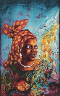 Batik portrait of Buchi Emecheta by artist Marina Elphick. British batik artist known for her exquisite portraits in this classic Indonesian art medium.