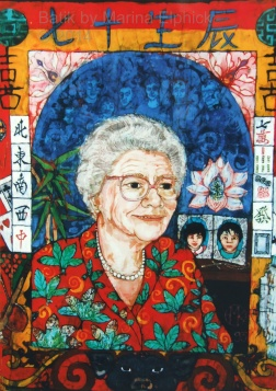 joy's Mum ( with family ) batik on cotton by Marina Elphick