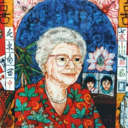 joy's Mum ( with family ) batik on cotton by Marina Elphick