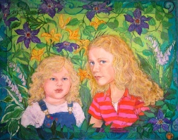 Portrait of Phoebe and Emma, batik on cotton by Marina Elphick