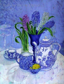 Hyacinth and Willow coffee pot, batik on cotton by Marina Elphick