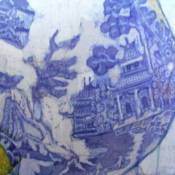 Detail from Hyacinth & Willow coffee pot, batik on cotton by Marina Elphick