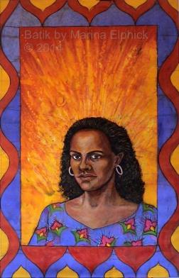 Second Class Citizen, book cover artwork in batik, on cotton by Marina Elphick Book by Buchi Emecheta.