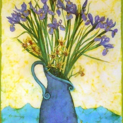 Iris and Orchids, batik on cotton by Marina Elphick