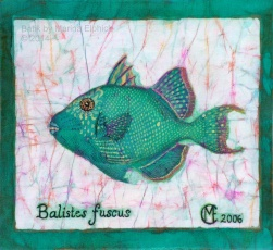 Blue Trigger Fish, batik on cotton with embroidery by Marina Elphick