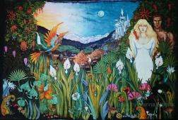 Hormone Jungle, batik on cotton by Marina Elphick, for fantasy book cover illustration