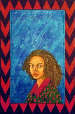 "Anthea, portrait in batik on cotton by Marina Elphick, for book cover illustration "" Destination Biafra "" by Buchi Emecheta"