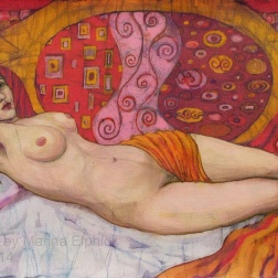 Red Nude, batik on cotton by Marina Elphick