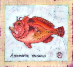 Scarlet Frogfish, batik on cotton by Marina Elphick